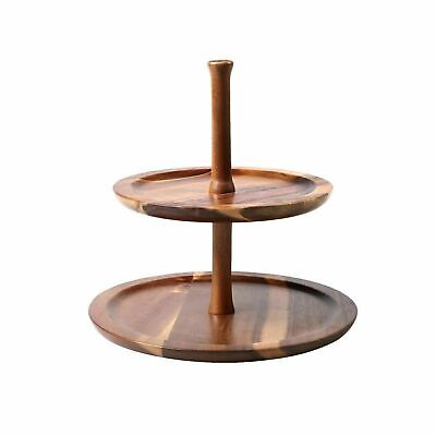 GOURMET KITCHEN Acacia Wood 2 Tiers Serving Tray | Cake Stand / Sharing Platter