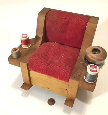 Sewing Box Antique FOLK ART Hand Made Wooden & NOTIONS Tramp Art ROCKING CHAIR!