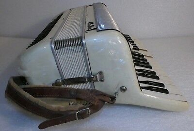 Vintage White  Accordion Eletea Made In Italy