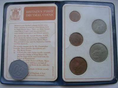 Britain's First Decimal Coin Set of Uncirculated Coins in Wallet