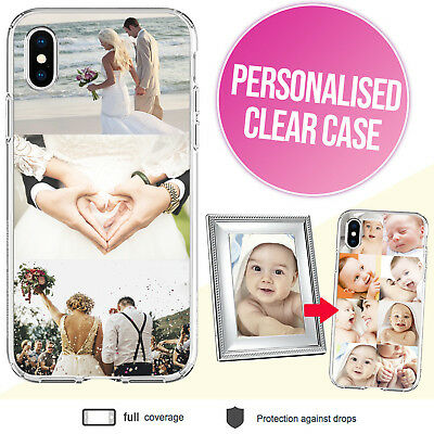 iPhone XS Max XR X 8 Plus Clear Bumper Case with Personalised Photo Picture Grid