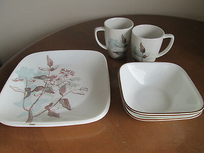 "8 Corelle ""Twilight Grove"" Plates, Bowls and Mugs Vitrelle Dinnerware"
