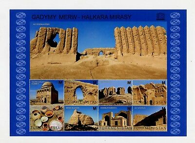 TURKMENISTAN 2013 Monuments Merv Margiana Architecture Archeology Block 8 stamps