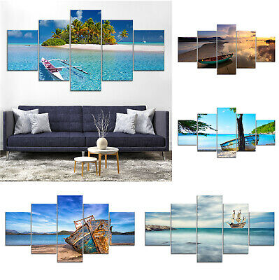 Seascape Sea Beach Boat Canvas Print Painting Framed Home Decor Wall Art Poster