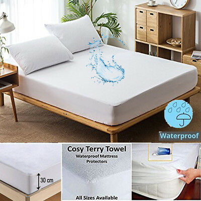 Extra Deep Waterproof Terry Towel Mattress Protector Fitted Sheet Bed Cover