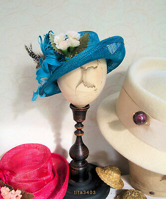 Hut f. antike Puppen / Hat for Dolls _ 'Ascot-or-Royal-Wedding-Style' _ Türkis