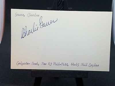 Charlie Gauer (d.1973) Steelers AUTOGRAPHED vintage 3x5 index card *RARE*