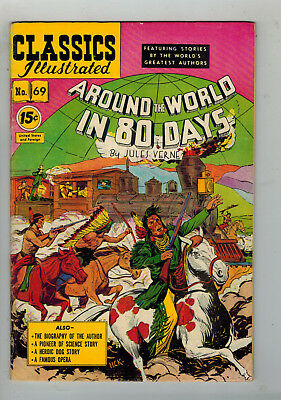 CLASSICS ILLUSTRATED No. 69 Around the World in 80 Days - 15c - HRN 87