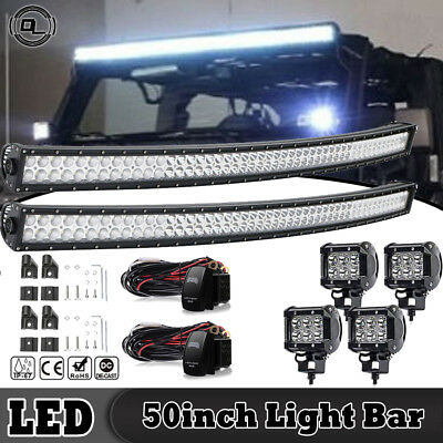 "2PCS *50INCH  LED Light Bar Curved + 4*4"" Light With wiring For truck UTV SUV"