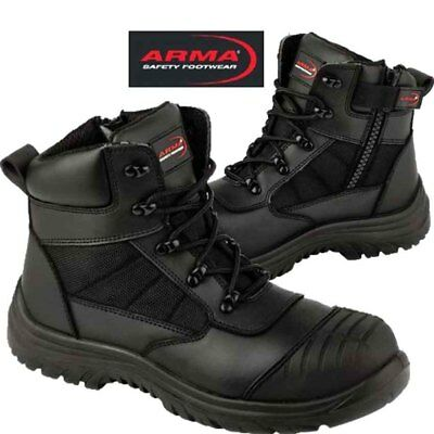 Safety Boots Steel toecap Leather Side Zip Titan Boot Black Arma A16 Work Boots