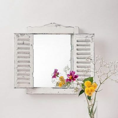 French Country Style Wooden Shutter Mirror Distressed White Vintage Antique