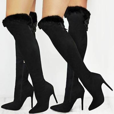 Womens Ladies Long Over The Knee Boots Thigh High Thin Heels Sexy Faux Fur Trim