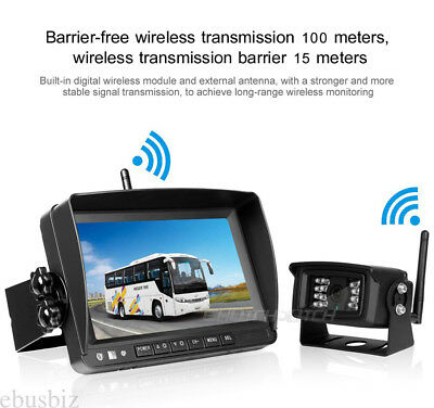 """7"""" Digital Wireless LCD Monitor Rear View Back up HD Camera for RV Truck Bus Kit"""