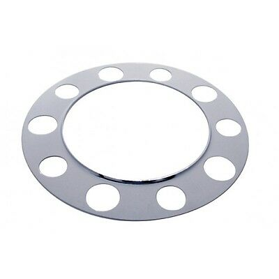 "beauty rings(2) chrome stud piloted 5 sm 5 large holes 1-1/2"" nut steel wheel"