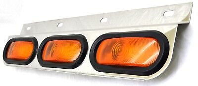 light bar 3 oval amber incandescent light stainless steel top mud flap bar