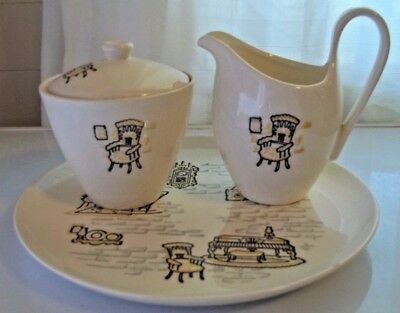 Vintage Ivory Gay Nineties Plate With Creamer & Sugar Made By Marcrest