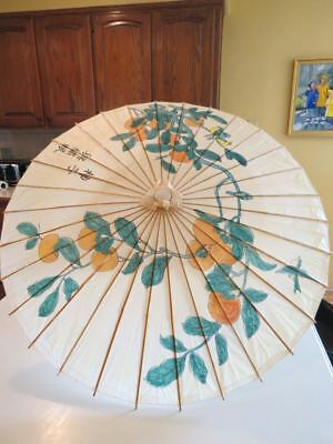 Vtg Asian Hand Painted UMBRELLA Lacquered Rice Paper Orange Blossom Birds Signed