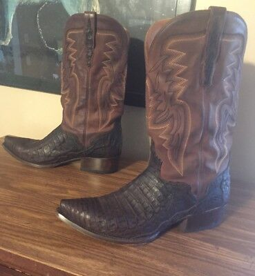 29ae13f7ab4 MENS EL DORADO Caiman Snip Toe Western Boots Chocolate Exotic Leather Size  11 US