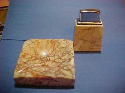 Elegant & Extra Rare 1988  Marble Roseart Zippo Table Lighter Set - Nr. Mint