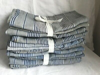 Vintage Blue Ticking Old Worn Fabric for Cutting & Projects French Textiles 2pc