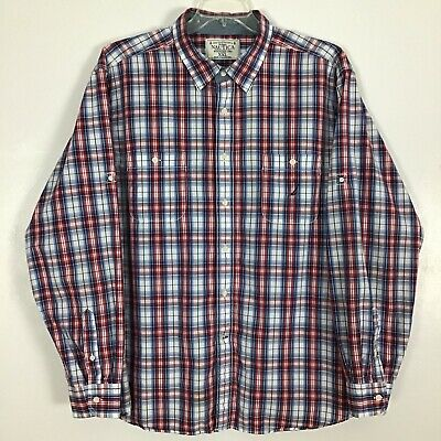 c21a6b2656 Nautica Mens Button Front Shirt XXL 2XL Long Sleeve Plaid Check Red White  Blue