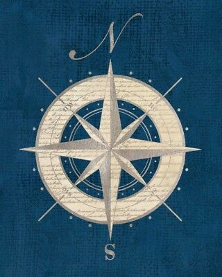 FINE-ART-PRINT-Compass-Rose-Coastal-Blue-Poster-Paper-or-Canvas-for-home-decor