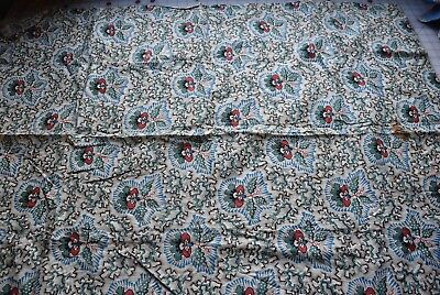7071 large piece 1820's cotton fabric, interesting block print Floral