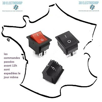 Interrupteur à bascule ON-OFF permanent 15A 250V 28x22mm noir ou rouge