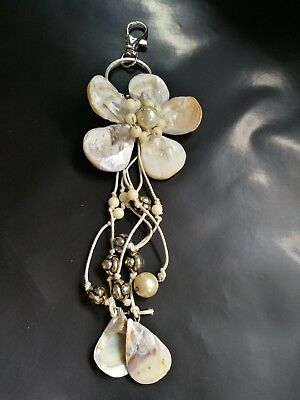 Shell Flower Keyring Natural Shells beautiful piece. gift or a treat for you???