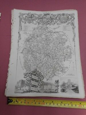 100% Original Herefordshire  Map By Moule C1848 Vgc Railways