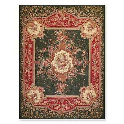"""8'5"""" x 11'9"""" Hand Woven Wool French Aubusson Needlepoint Area Rug Traditional"""