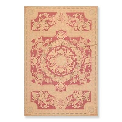 """5'10"""" x 8'7"""" Hand Woven Wool French Aubusson Needlepoint Area Rug Traditional"""