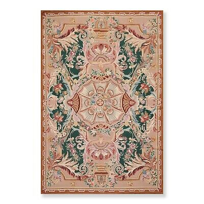6' x 9' Hand Woven Wool French Aubusson Needlepoint Area Rug 6X9 Traditional