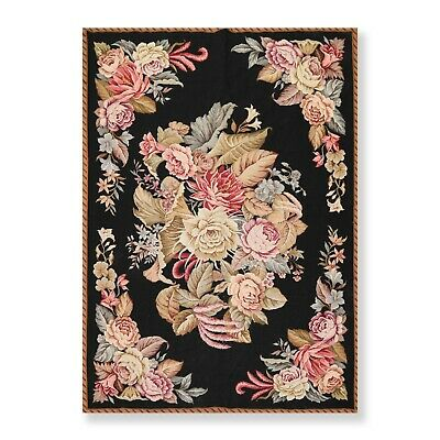 """5'1"""" x 7'3"""" Hand Woven Wool French Aubusson Needlepoint Area Rug Traditional"""