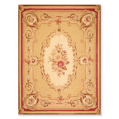 """8'7"""" x 12' Hand Woven Wool French Aubusson Needlepoint Area Rug Traditional"""