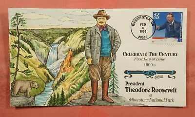 1998 FDC #3182b THEODORE ROOSEVELT COLLINS HAND PAINTED