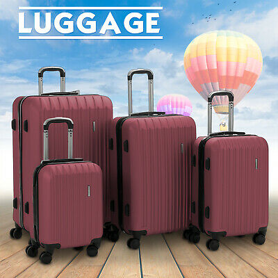 "4 Piece ABS Luggage Set Light Travel Case Hardshell Suitcase 16""20""24""28"" Red"