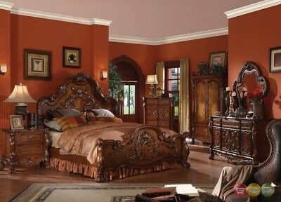 Dresden Traditional 5pc Luxury King Bed Set Light in Brown Cherry Oak w/Chest