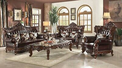 Awesome Barcelona Dark Brown Tufted Traditional 2Pc Leather Sofa Set Ncnpc Chair Design For Home Ncnpcorg