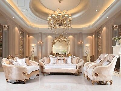 Luxurious Victorian 3 pc Traditional Sofa Set ButtonTufted White & Gold Mahogany