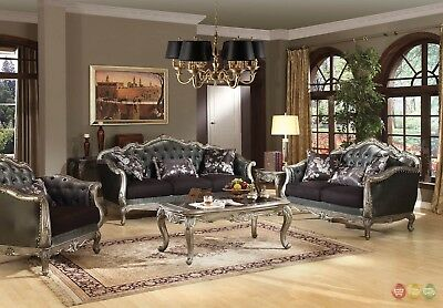 Chantelle French Rococo 3 Piece Formal Living Room Set Carved Wood Accents