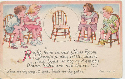 C705 1942 Postcard Comic Humour School House Children