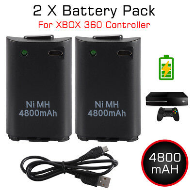 2pcs 4800mAh Battery Pack with Charging Cable for Xbox 360 Controller AC1745