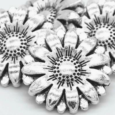 2Pcs Metal Sunflower Carved Antique Sewing Craft DIY Silver Shank Buttons Gifts