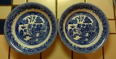 """2 Vintage Blue Willow Ridgway  England Semi China  7-1/4""""  Soup Bowls + 1 Plate"""