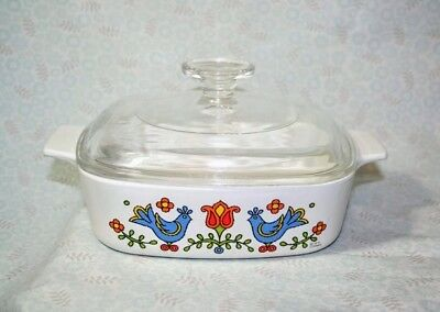 Corning Ware A-1-B Country Festival 1 Qt. Casserole With Pyrex A7-C Glass Lid