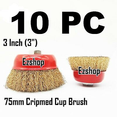 "10 PC 3"" x 5/8"" Arbor FINE Crimped Wire Cup Wheel Brush - For Angle Grinders"