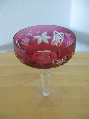 Nachtmann Traube Cranberry Red CUT TO CLEAR Lead Crystal Wine Glass HUNGARY