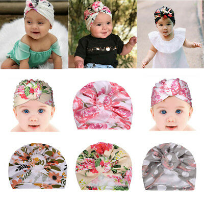 Infant Baby Floral Print Turban Hat Cap Beanie Knot Headband Newborn Head Wrap
