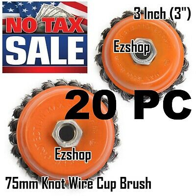 """20 Wire Cup Brush Wheel 3"""" (75mm) for 4-1/2"""" (115mm) Angle Grinder Twist Knot"""